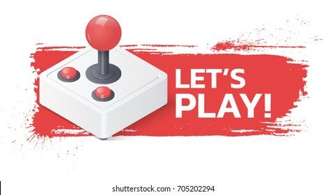 Joystick gamepad on grunge background. Lets play banner.
