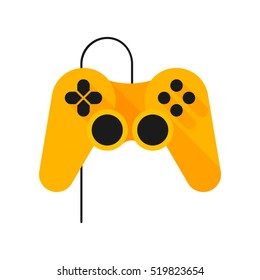 Joystick. Games. Vector icon. Yellow