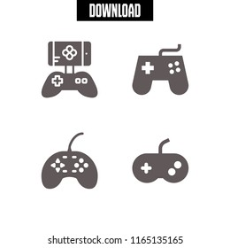 joystick icon. This set with game controller and gamepad vector icons for mobile and web