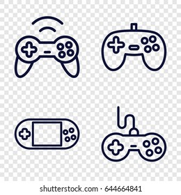 Joystick icons set. set of 4 joystick outline icons such as joystick