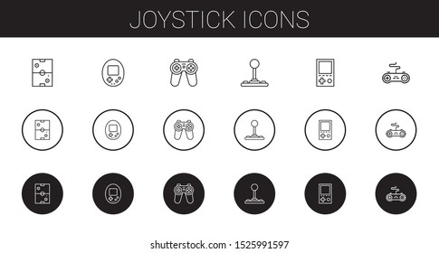 joystick icons set. Collection of joystick with air hockey, console, gamepad. Editable and scalable joystick icons.