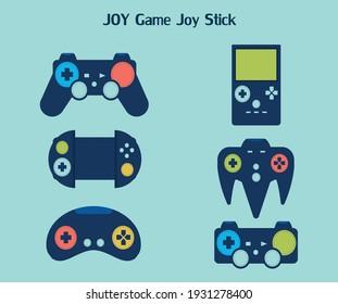 Joystick icons set. Flat set of joyGame,vector illustration.