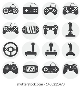 Joystick icons set on background for graphic and web design. Simple illustration. Internet concept symbol for website button or mobile app.