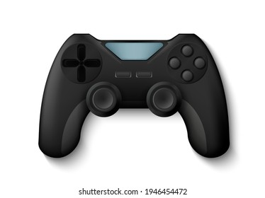 Joystick. Realistic gamepad, 3D play console for control game character. Isolated electronic equipment, gaming device with buttons. Vector gamers gadget for cybersport competitions