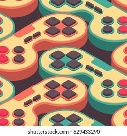 Joystick retro seamless pattern. Gampad Game console 8 bit texture. Retro video game control background