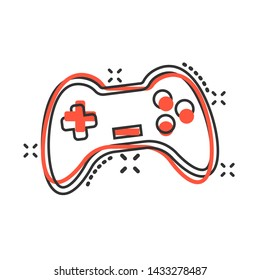 Joystick sign icon in comic style. Gamepad vector cartoon illustration on white isolated background. Gaming console controller business concept splash effect.