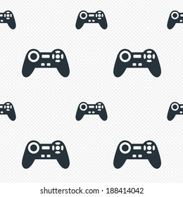 Joystick sign icon. Video game symbol. Seamless grid lines texture. Cells repeating pattern. White texture background. Vector