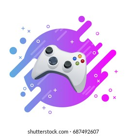 Joystick video game vector icon isolated illustration on modern memphis design background