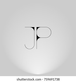 JP Black thin minimalist LOGO Design with Highlight on Gray background.