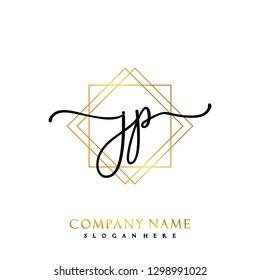 JP Initial Handwriting logo template vector
