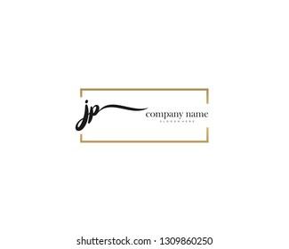 JP Initial handwriting logo vector. Hand lettering for designs.