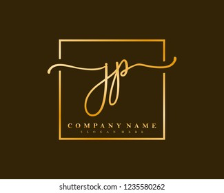 JP Initial handwriting square minimalist logo vector