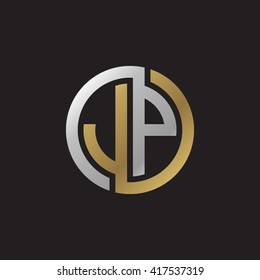 JP initial letters looping linked circle elegant logo golden silver black background