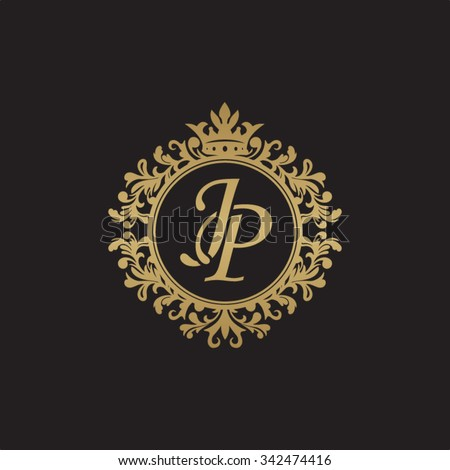 jp initial luxury ornament monogram logo stock vector royalty free