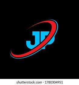 JP J P letter logo design. Initial letter JP linked circle uppercase monogram logo red and blue. JP logo, J P design. jp, j p