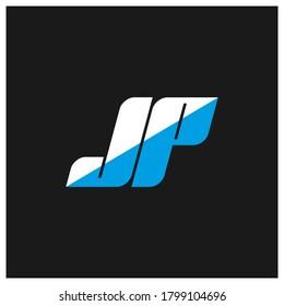 JP letter logo design on black background. JP creative initials letter logo concept. jp icon design. JP white and blue letter icon design on black background. J P