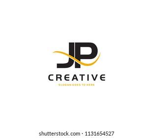 JP letter with swoosh vector logo design
