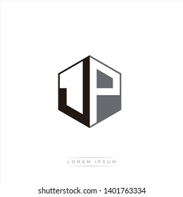 JP Logo Initial Monogram Negative Space Design Template With Black and Grey color