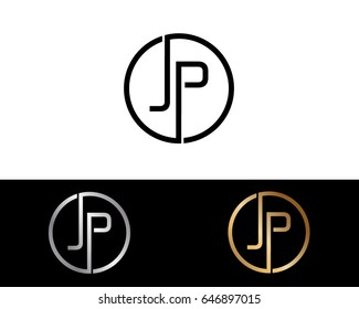 Jp Logo. Letter Design Vector with Red and Black Gold Silver Colors
