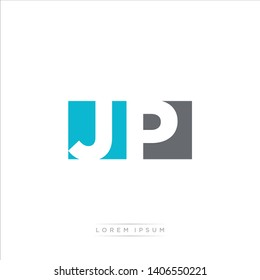 JP Logo Letter with Modern Negative space - Light Blue and Grey Color EPS 10
