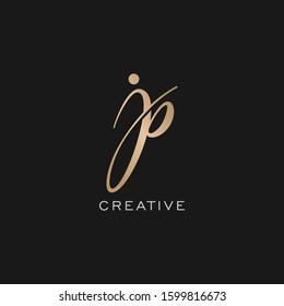 jp pj Logo Template Handwriting Script
