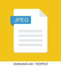 JPEG file icon. JPEG document type. Flat design graphic illustration. Vector JPEG icon
