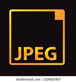 jpeg  format icon vector in gold style design
