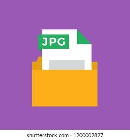 JPEG Image Document File Format Flat Icon. Vector Illustration. File in a Folder