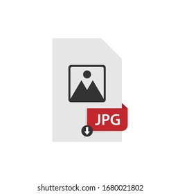 JPG download file format vector image. JPG file icon flat design graphic vector