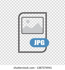 JPG file document icon. JPG button icon isolated on transparent background. Flat design. vector illustration