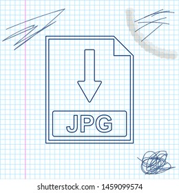 JPG file document icon. Download JPG button line sketch icon isolated on white background. Vector Illustration