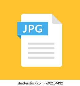 JPG file icon. JPEG document type. Flat design graphic illustration. Vector JPG icon