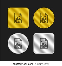 JPG image file format gold and silver metallic coin logo icon design