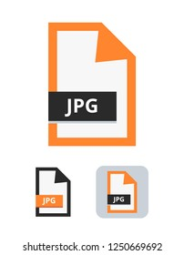 Jpg or Jpeg file flat vector icon. Symbol of JPG or JPEG file with lossy compression for pictures, photos, images, graphic, web and print isolated on a white background.