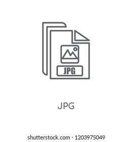 Jpg linear icon. Jpg concept stroke symbol design. Thin graphic elements vector illustration, outline pattern on a white background, eps 10.