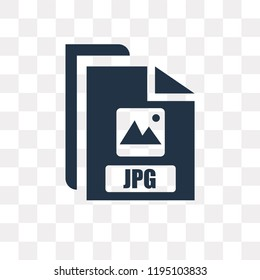Jpg vector icon isolated on transparent background, Jpg transparency concept can be used web and mobile
