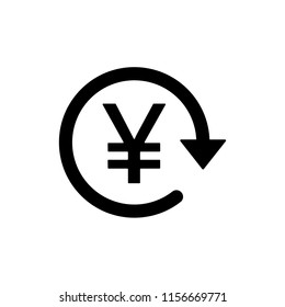 JPY / CNY Symbol circled by arrow, Money flow, Exchange, Circulation, Japanese Yen, Chinese Yuan, Vector illustration