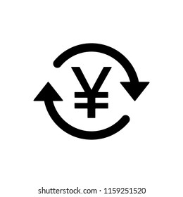 JPY / CNY Symbol circled by two arrows, Money flow, Exchange, Circulation, Japanese Yen, Chinese Yuan, Vector illustration