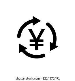 JPY / CNY Symbol circled by three arrows, Money flow, Exchange, Circulation, Japanese Yen, Chinese Yuan, Vector illustration