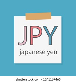JPY Japanese yen written in a notebook paper- vector illustration