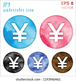 JPY watercolor symbol. Admirable hand drawn style symbol. Brilliant painting. Modern design for infographics or presentation.