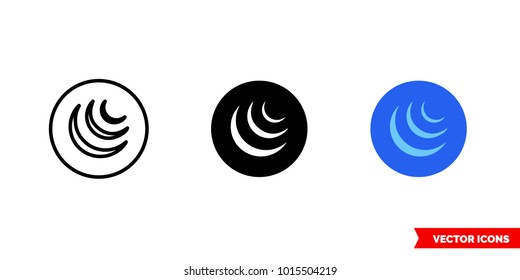 Jquery icon of 3 types: color, black and white, outline. Isolated vector sign symbol.