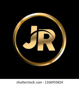 JR initial circle company logo gold black background