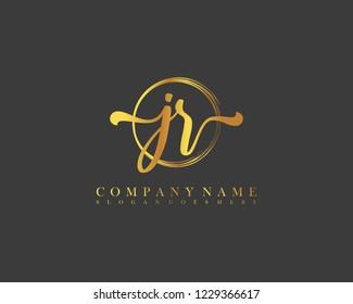 JR initial handwriting logo circle template vector
