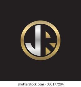 JR initial letters circle elegant logo golden silver black background