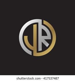 JR initial letters looping linked circle elegant logo golden silver black background