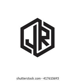 JR initial letters looping linked hexagon monogram logo