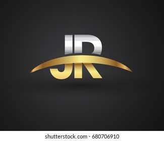 JR initial logo company name colored gold and silver swoosh design. vector logo for business and company identity.