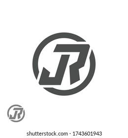 JR or J R letter alphabet logo design in vector format.