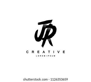 JR Letter Dots Brush Grunge Logo Design